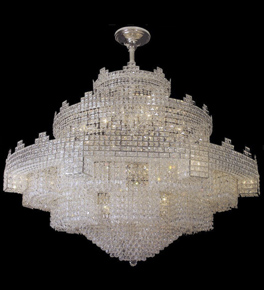 Crown shaped tiered crystal chandelier