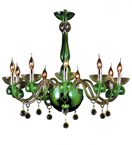 Modern Green Glass Chandelier