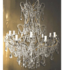 19th Century Antique 12 Light Chandelier With Modern Crystal Crop.