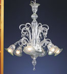 Translucent Murano Glass 6 Light Venetian Style Chandelier.