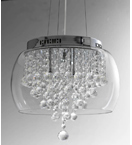 Glass Crystal Drop 6 Light Pendant Chandelier.