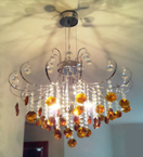 Coloured Crystal Drop 3 Light Chandelier
