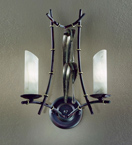 Bamboo Design wall lamp With Rings & Leaves To Adorn The Frame