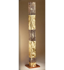 Forme design square metal tower floor lamp that has drill & flame cut details