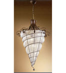 Soffiati design iron cone shaped pendant chandelier with blown glass details