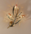 Gru design leaf shaped & murano glass detailed 3 light wall light